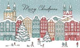 Ciudad en invierno en el tiempo de la Navidad