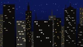 Ciudad en la noche stock de ilustración