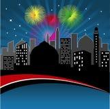 Ciudad en la noche ilustración del vector