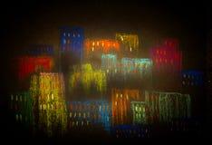 Ciudad en la oscuridad libre illustration