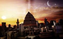 Ciudad en la puesta del sol Fotos de archivo libres de regalías