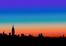 Ciudad en la puesta del sol Imágenes de archivo libres de regalías
