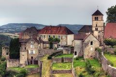 Ciudad en los les Messieurs, el Jura - Francia de los beaumes Fotos de archivo