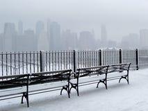 Ciudad en nieve Imagen de archivo libre de regalías
