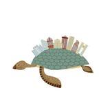 Ciudad en tortuga Edificio en los reptiles animales Ciudad fantástica Vec stock de ilustración