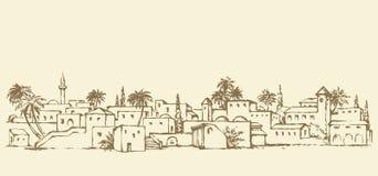 Ciudad en un desierto Gráfico del vector stock de ilustración