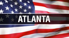 Ciudad en un fondo de la bandera de los E.E.U.U., de Atlanta representación 3D Bandera de los Estados Unidos de América que agita stock de ilustración