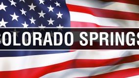 Ciudad en un fondo de la bandera de los E.E.U.U., de Colorado Springs representación 3D Bandera de los Estados Unidos de América  ilustración del vector