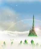 Ciudad esmeralda con el campo de cristales ilustración del vector
