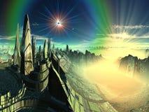 Ciudad esmeralda extranjera ilustración del vector