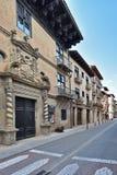 Ciudad española antigua Zangoza en Navarra Fotos de archivo libres de regalías