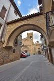 Ciudad española antigua Zangoza en Navarra Foto de archivo libre de regalías