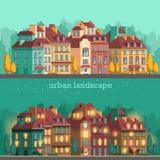 Ciudad europea con los edificios históricos Paisaje tradicional de la arquitectura Fotos de archivo libres de regalías