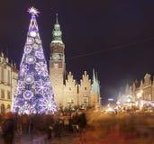 Ciudad europea de la cultura 2016, Wroclaw durante la estación de la Navidad Foto de archivo libre de regalías