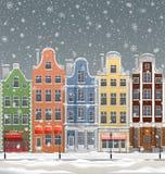 Ciudad europea en el invierno ilustración del vector