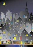 Ciudad europea en la noche ilustración del vector