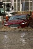 Ciudad europea inundada durante fuertes lluvias Imagen de archivo libre de regalías