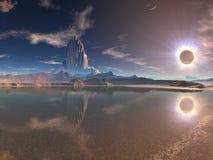 Ciudad extranjera distante en el eclipse lunar fotografía de archivo