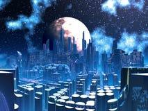 Ciudad extranjera futurista empleada ayudas del pilón ilustración del vector