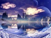 Ciudad extranjera futurista en paisaje del invierno Fotografía de archivo libre de regalías