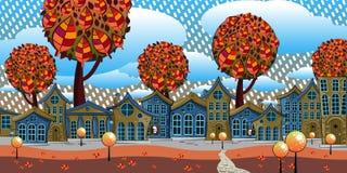Ciudad fabulosa con las pequeñas casas en un fondo del rojo, árboles del otoño Imágenes de archivo libres de regalías
