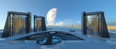 Ciudad futura stock de ilustración