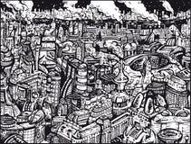 Ciudad futura blanco y negro Imagen de archivo libre de regalías