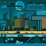 Ciudad futura en noche libre illustration