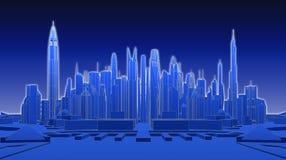 Ciudad futurista azul representación 3d Fotografía de archivo