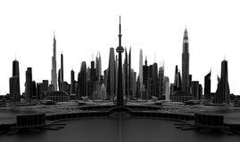Ciudad futurista negra representación 3d Fotografía de archivo