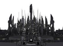 Ciudad futurista oscura representación 3d stock de ilustración