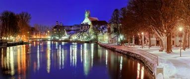 Ciudad gótica Landshut en el río de Isar por Munich, Baviera, Alemania Imagen de archivo