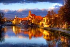Ciudad gótica vieja Landshut, la capital anterior de Baviera, en Isar Imagen de archivo