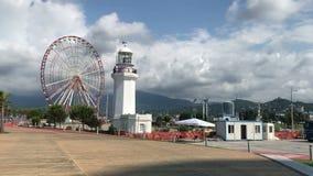 Ciudad Georgia, tiro de Batumi en el teléfono móvil, concepto del viaje, vídeo aficionado turístico almacen de video
