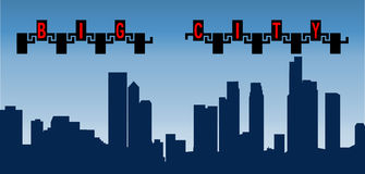 Ciudad grande de la silueta del ejemplo del vector con alto stock de ilustración