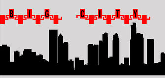 Ciudad grande de la silueta del ejemplo del vector con los edificios stock de ilustración