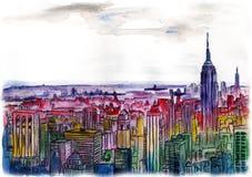 Ciudad grande del paisaje urbano del dibujo de la acuarela céntrica Fotografía de archivo libre de regalías