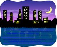Ciudad grande del puerto en la noche/EPS Foto de archivo libre de regalías