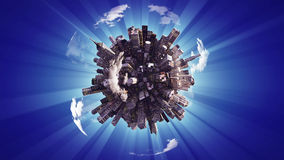 Ciudad grande en el pequeño planeta stock de ilustración