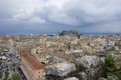 Ciudad Grecia de Corfú en la isla de Corfú Fotos de archivo libres de regalías