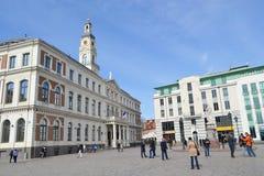 Ciudad Hall Square en Riga Imagenes de archivo
