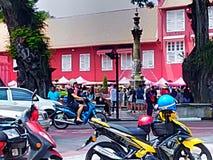 Ciudad histórica constructiva roja Malasia de Melacca Fotos de archivo libres de regalías