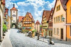 Ciudad histórica del der Tauber, Franconia, Baviera, G del ob de Rothenburg fotografía de archivo