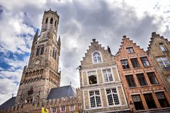 Ciudad histórica medieval de Brujas Calles de Brujas y centro, canales y edificios históricos bélgica fotos de archivo libres de regalías