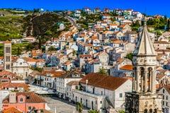 Ciudad Hvar de la UNESCO en Croacia, Europa foto de archivo