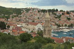 Ciudad Hvar en Croacia Foto de archivo libre de regalías