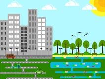 Ciudad industrial con un diseño plano del parque y de la charca Fotografía de archivo libre de regalías