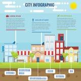 Ciudad Infographic del verano Foto de archivo libre de regalías