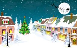 Ciudad, invierno, noche, Papá Noel en un trineo stock de ilustración
