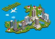 Ciudad isométrica en el mapa de China Imagen de archivo